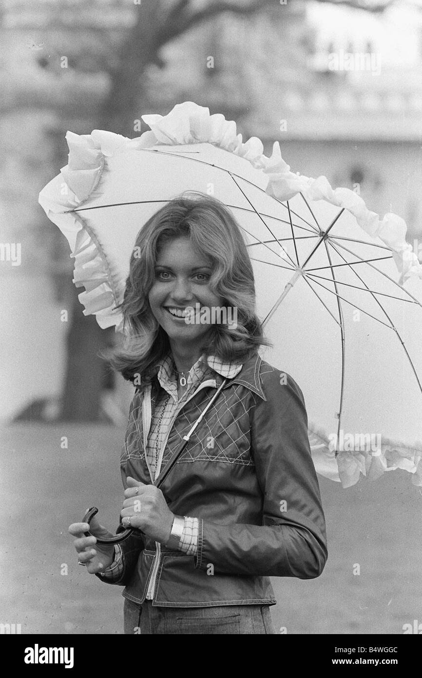 Actress and singer Olivia Newton John a UK Eurovision Song Contest Entrant April 1974 Stock Photo