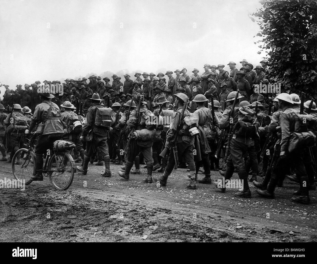 Australians soldiers returning to the trenches on the Somme at the end of August 1916 The battle began on July 1st - Stock Image