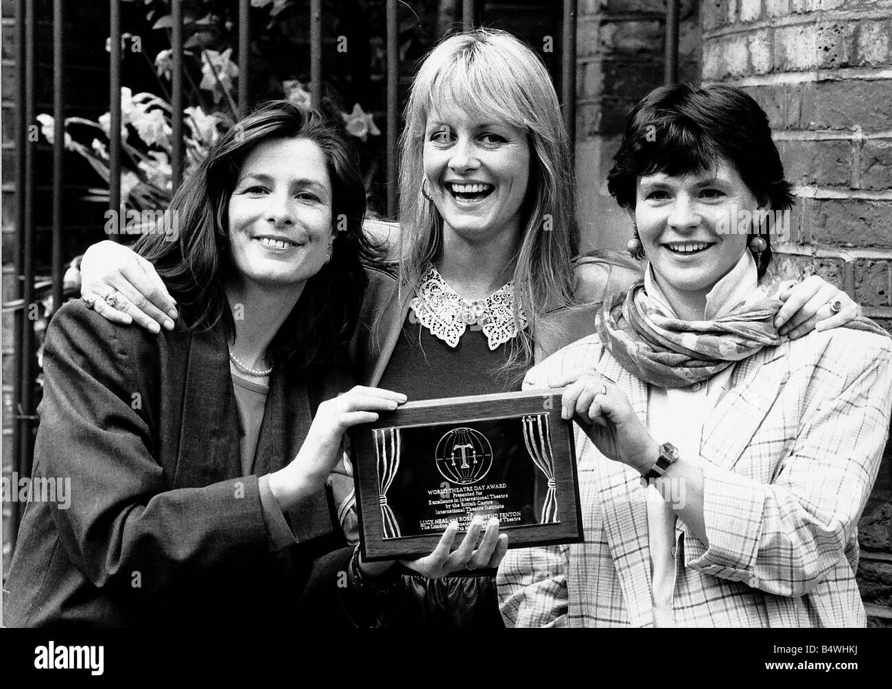 Twiggy Model Actress presenting award to London Theatres Directors Rose Fenton and Lucy NealStock Photo
