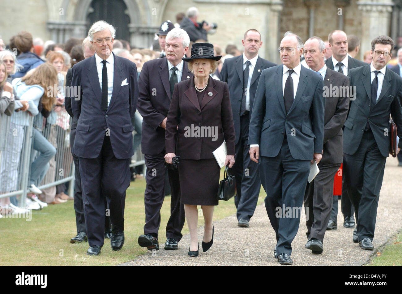 Lady Margaret Thatcher with Michael Howard and Geoffrey Howe leave Salisbury cathedral after the funeral of former - Stock Image