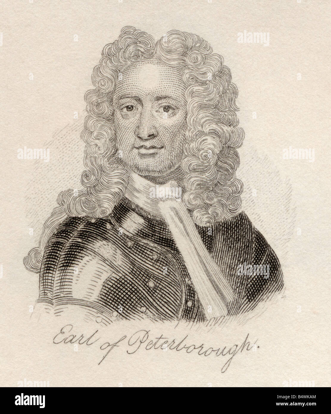Charles Mordaunt 3rd Earl of Peterborough and 1st Earl of Monmouth 1658 to 1735. English nobleman and military leader. Stock Photo