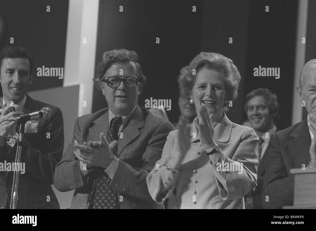 Conservative Party Conference 1977 Geoffrey Howe and Margaret Thatcher applaud the speech of William Hague October - Stock Image