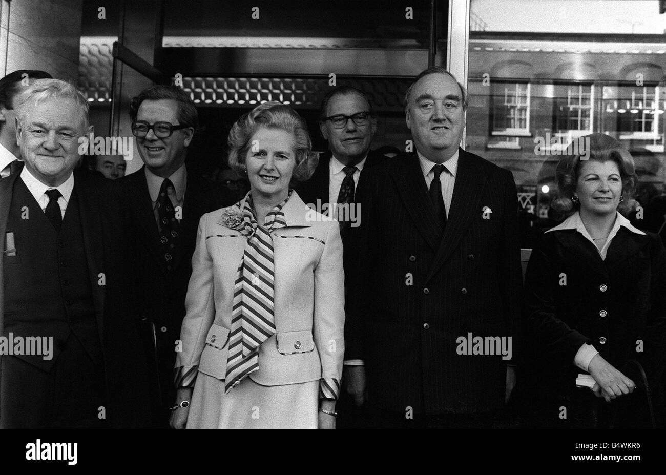 Margaret Thatcher with Reginald Maudling Sally Oppenheim William Whitelaw and Geoffrey Howe at Europa Hotel after - Stock Image