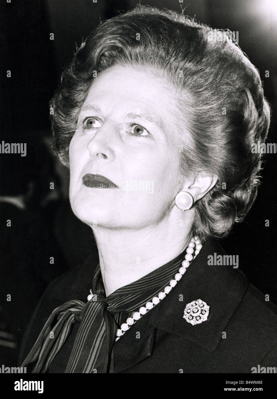 Margaret Thatcher Prime Minister Coiffured Hair Pearls Broach Stock Photo Alamy