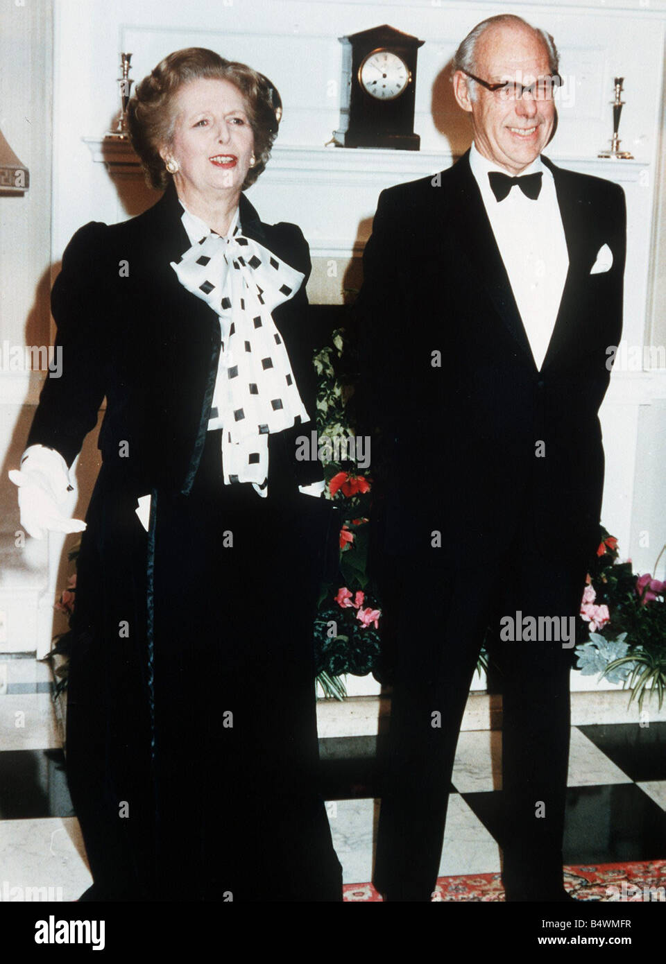 Margeret Thatcher with husband Denis at the 250th anniversary of Number 10 Downing Street December 1985 - Stock Image