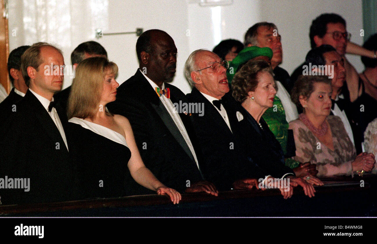 Margaret Thatcher and husband Denis in Hong Kong on board Royal Yacht Britania with William Hague during the celebrations - Stock Image
