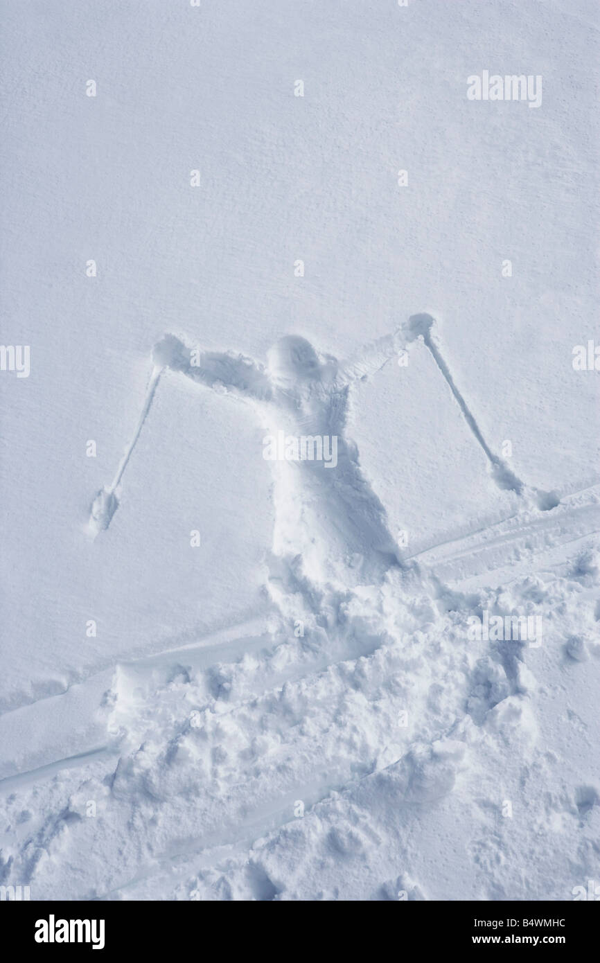 Skiers outline in the snow - Stock Image