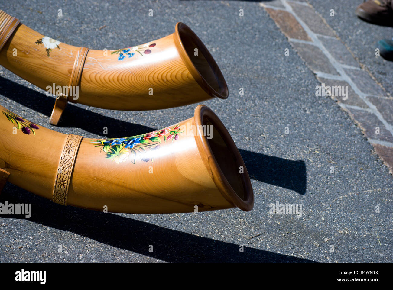 Close up view of a pair of Swiss Alpenhorns - Stock Image