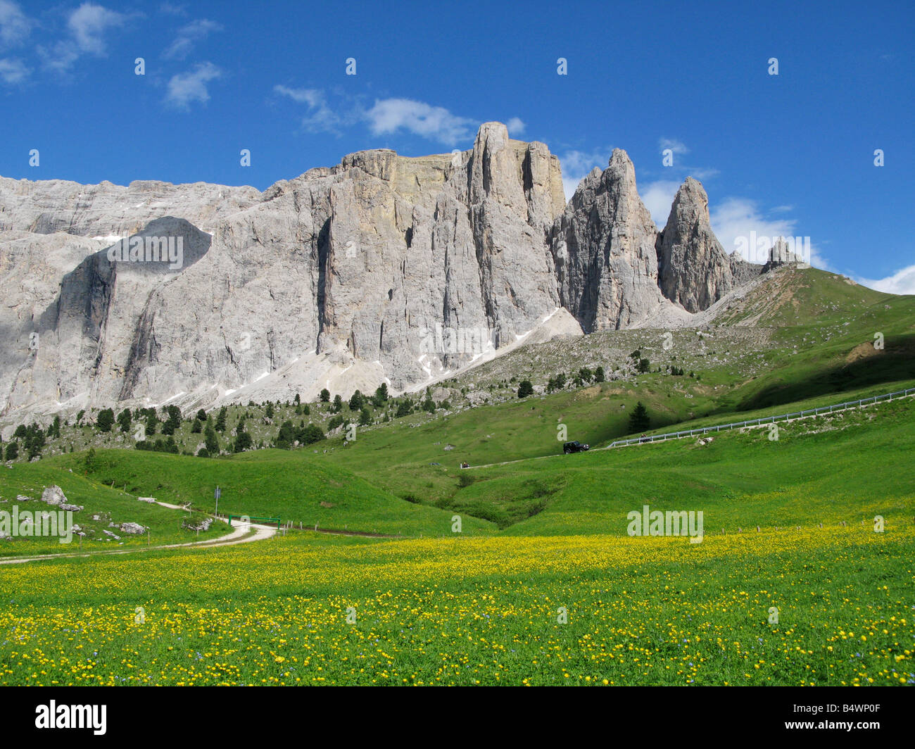 The Sella Group in the Dolomites, viewed from near Passo Sella, Italy Stock Photo