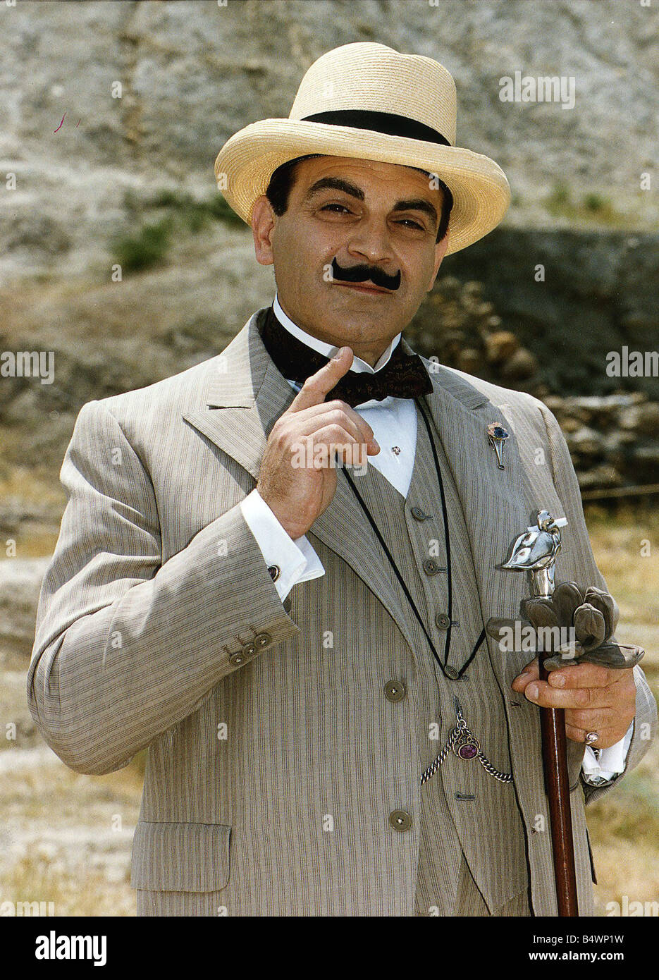 David Suchet plays Agatha Christies Poirot in the Television series Dbase - Stock Image