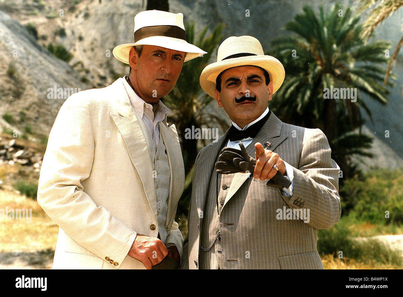 Poirot TV series starring David Sucht as Poirot and Hugh Fraser as Captain Hastings on the set of the programme - Stock Image
