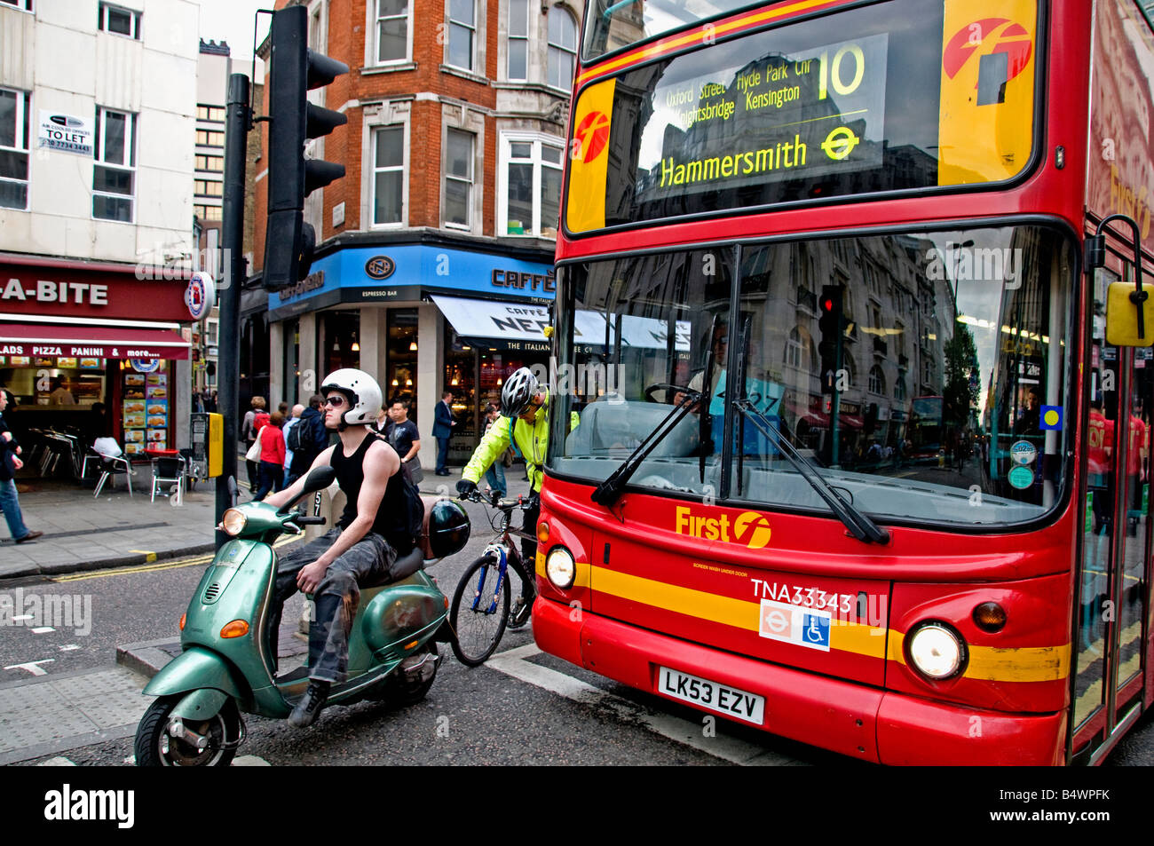 Red double decker bus London  Oxford Street - Stock Image