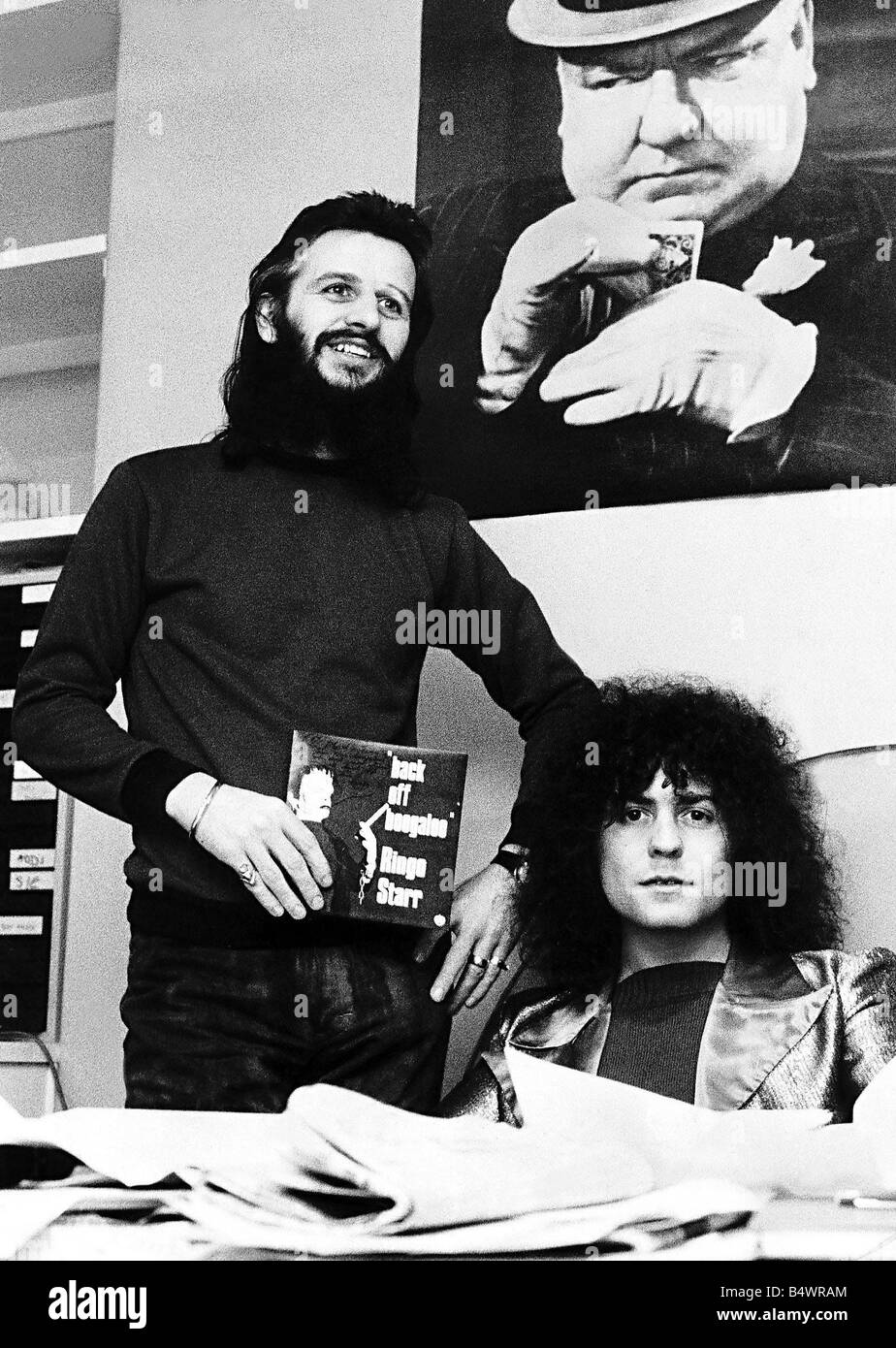 Marc Bolan Ringo Starr promoting Back off boogaloo 1972 - Stock Image