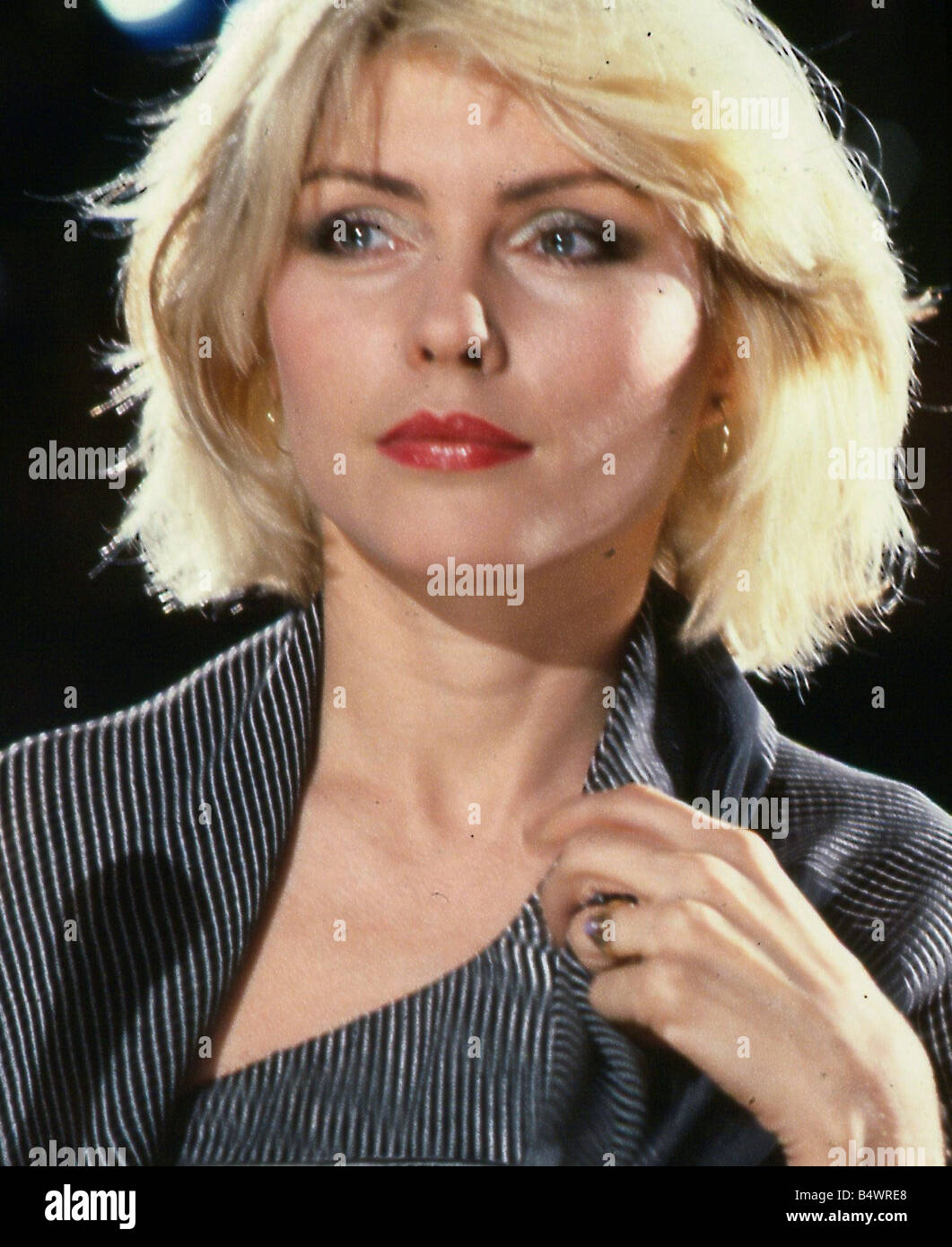 Debbie Harry March 1990 Wearing silver grey striped jacket - Stock Image
