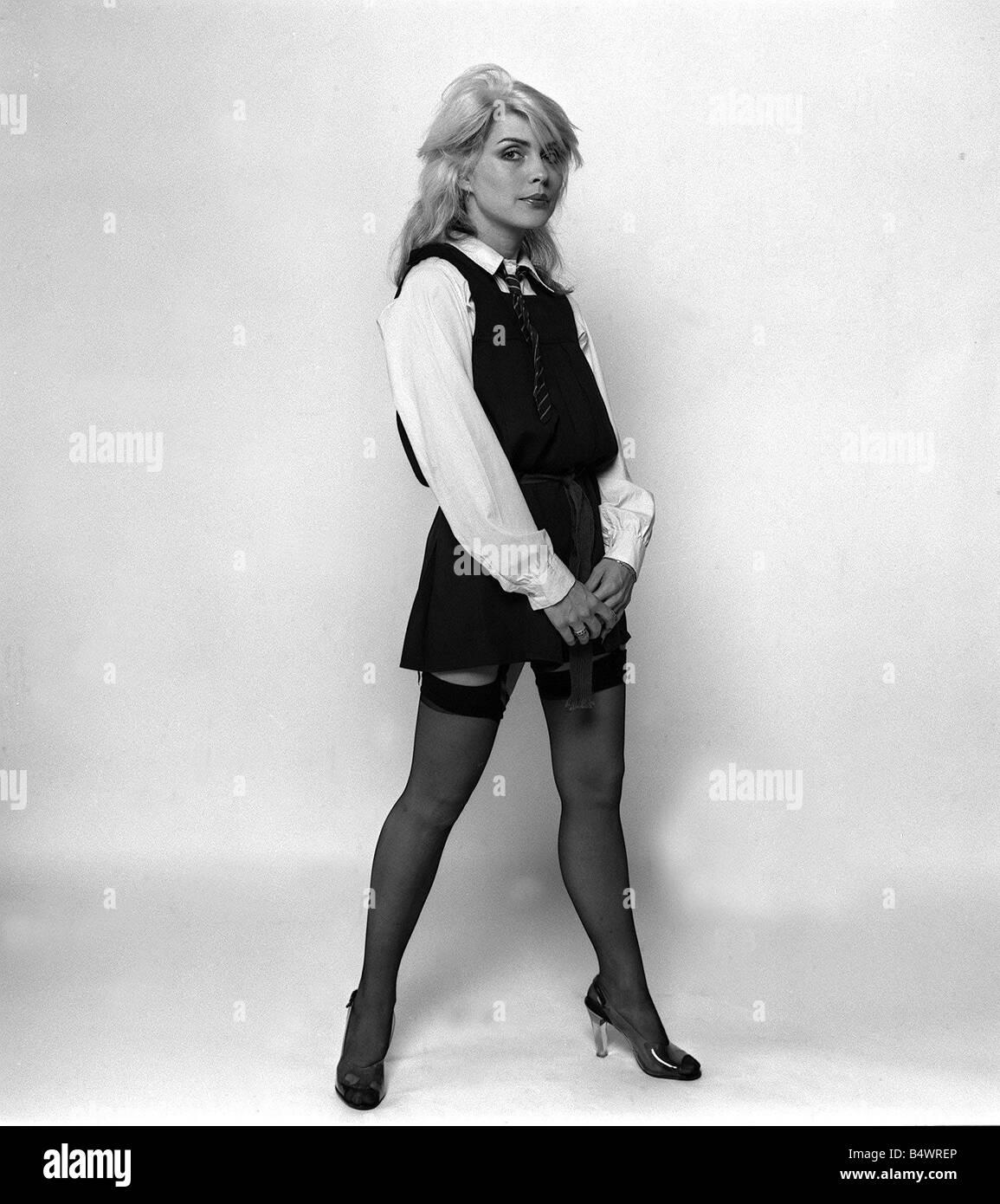 Debbie Harry Blondie singer dressed as schoolgirl 1978 weby - Stock Image