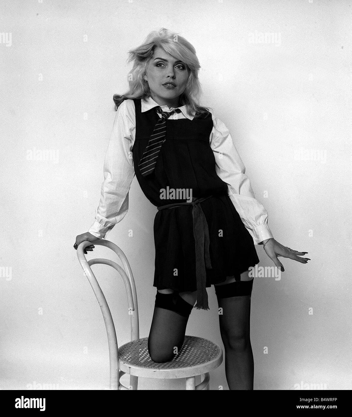 Debbie Harry Blondie singer dressed as a schoolgirl 1978 Stock Photo