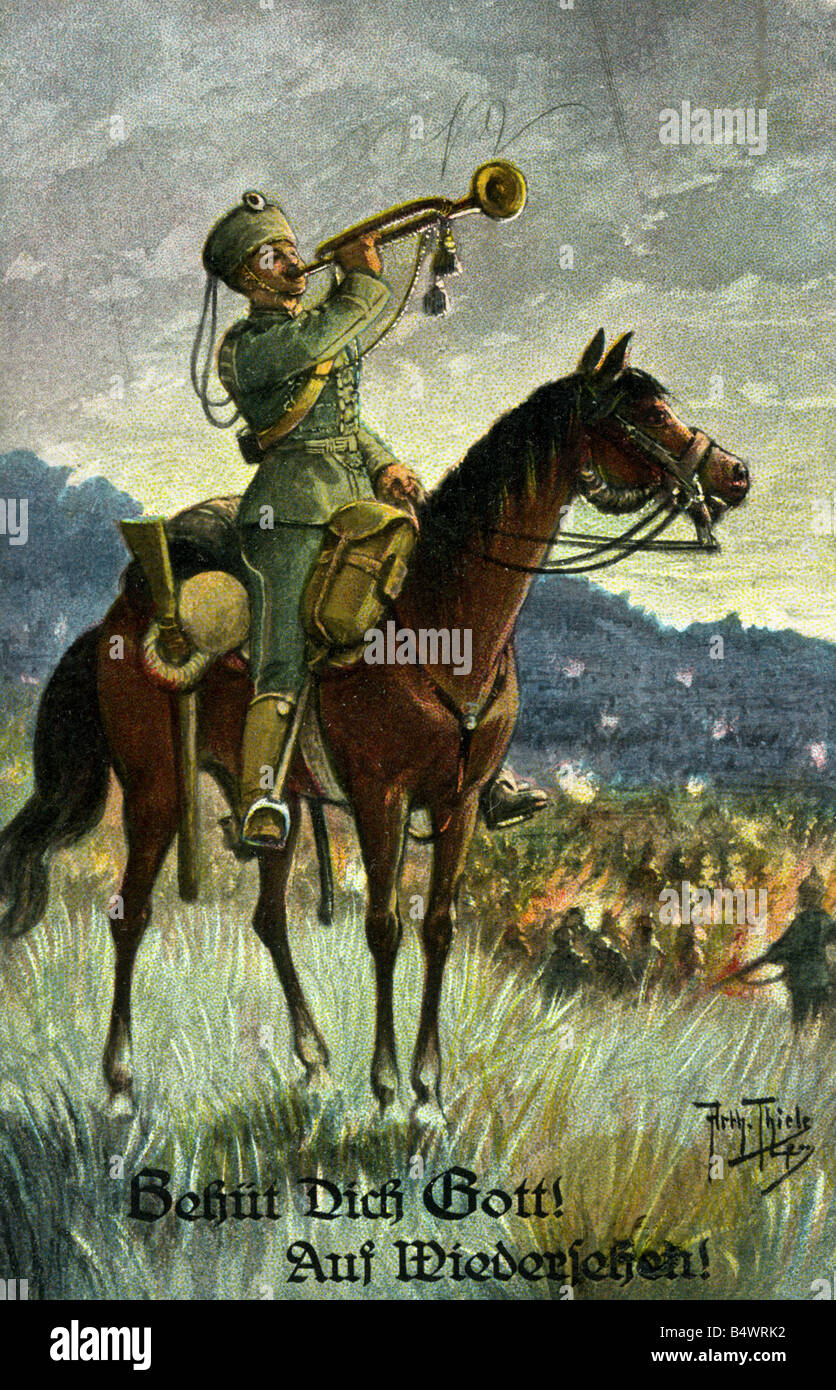 events, First World War/WWI, propaganda, Germany, bugler of the hussars, postcard, drawing by Arthur Thiele, 1914, - Stock Image
