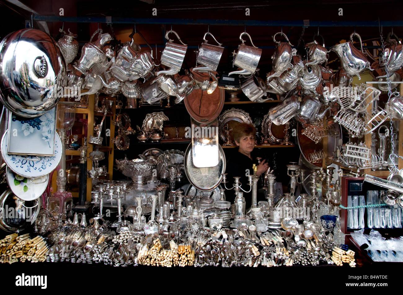 Portobello Road Market Notting Hill London Silver - Stock Image