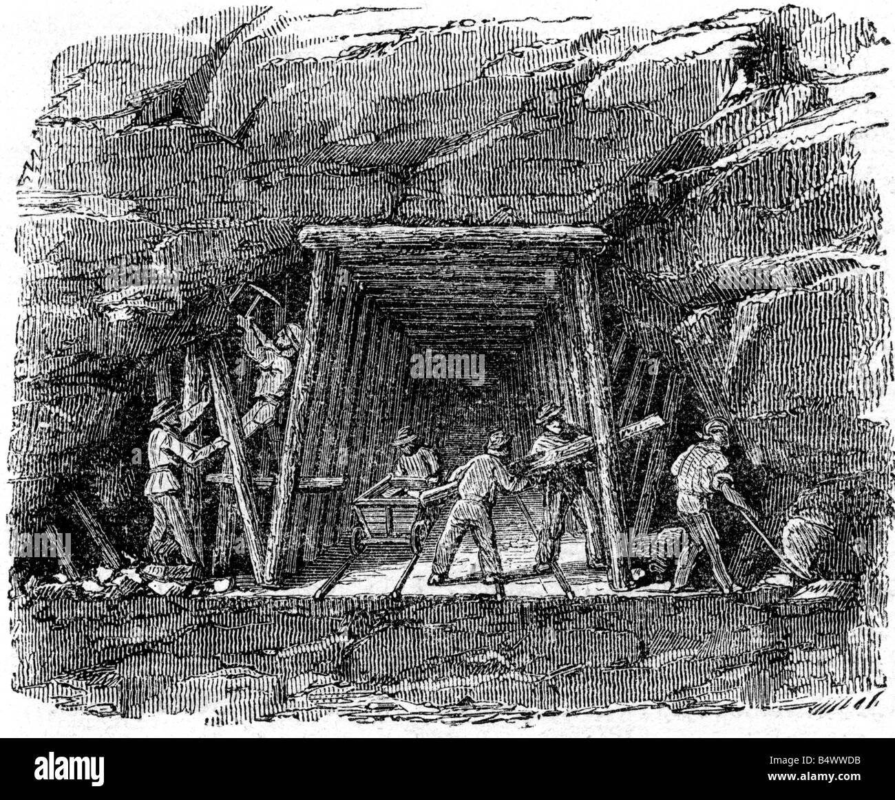 architecture, tunnels, construction of a railway tunnel, expanding the basic adit, wood engraving, Germany, 1860, - Stock Image