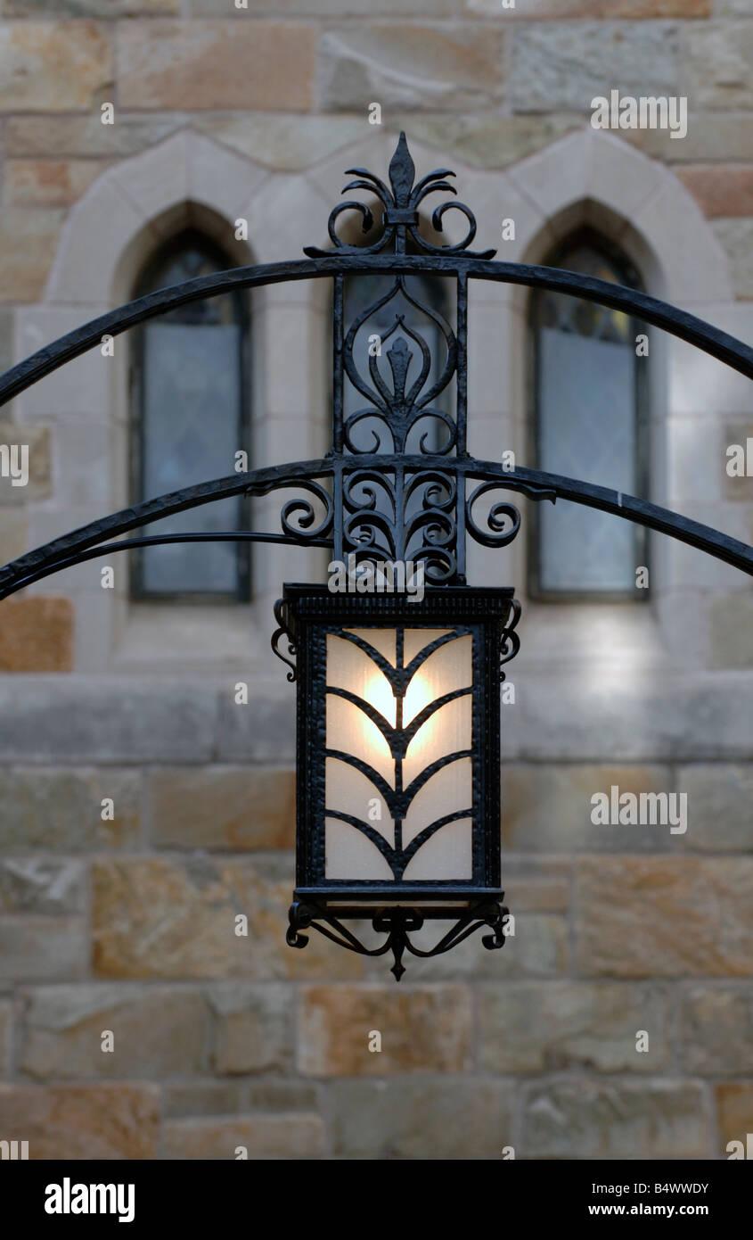 Wrought iron lamp Saybrook College Yale University - Stock Image