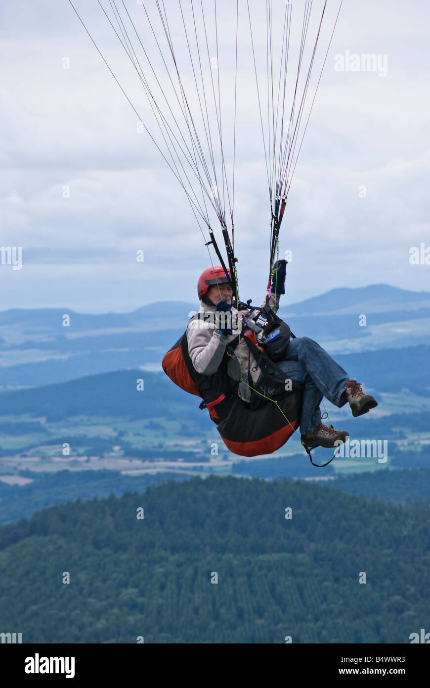 Paragliders on Le Puy de Dome France Stock Photo