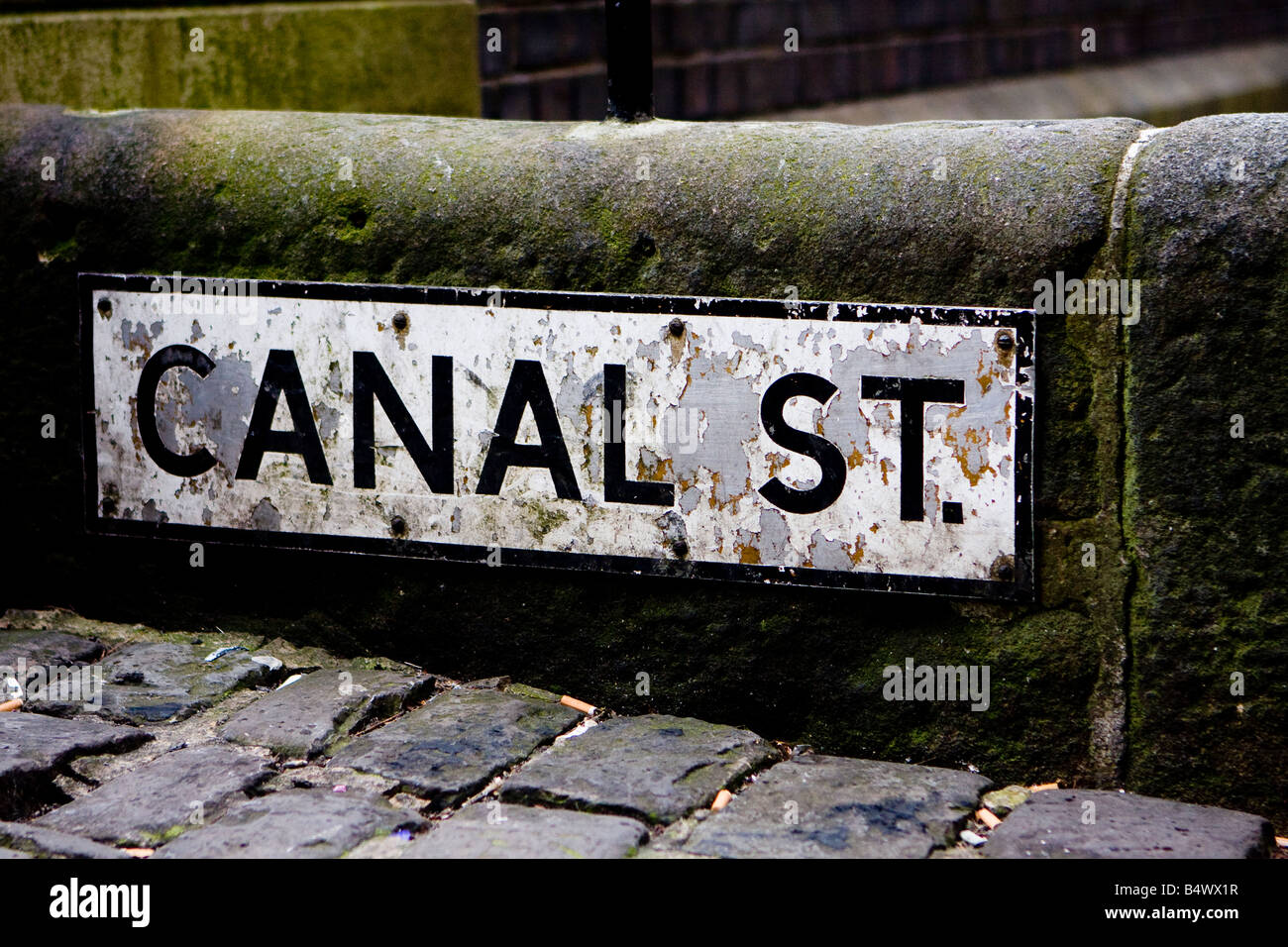 Street sign Canal street Manchester - Stock Image