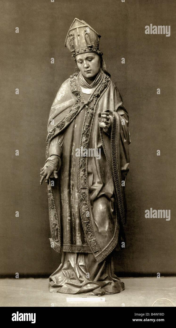 Willibald, 22.10.700 - 7.7.787, bishop of Eichstaett, missionary, saint, statue, wood, painted, Eichstaett, Germany, - Stock Image