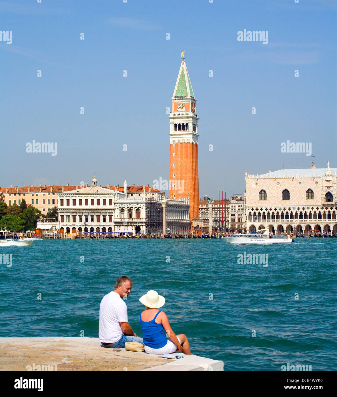 Doges Palace and Campanile in St Marks Square Venice Italy - Stock Image