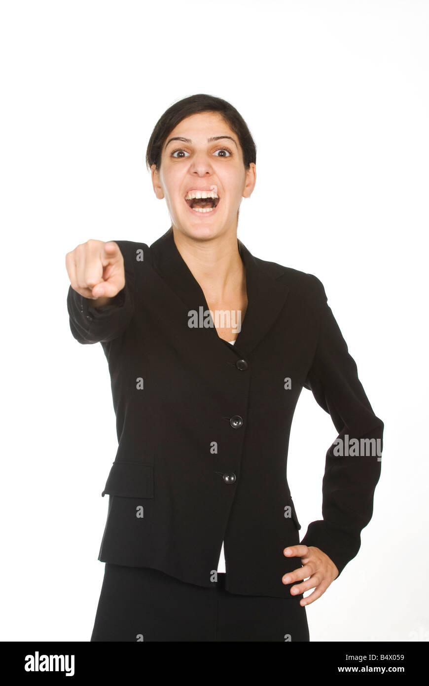 Business woman mocking - Stock Image