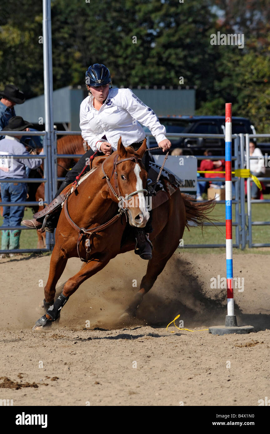 High School Boys and Girls Rodeo Competition Port Huron Michigan - Stock Image