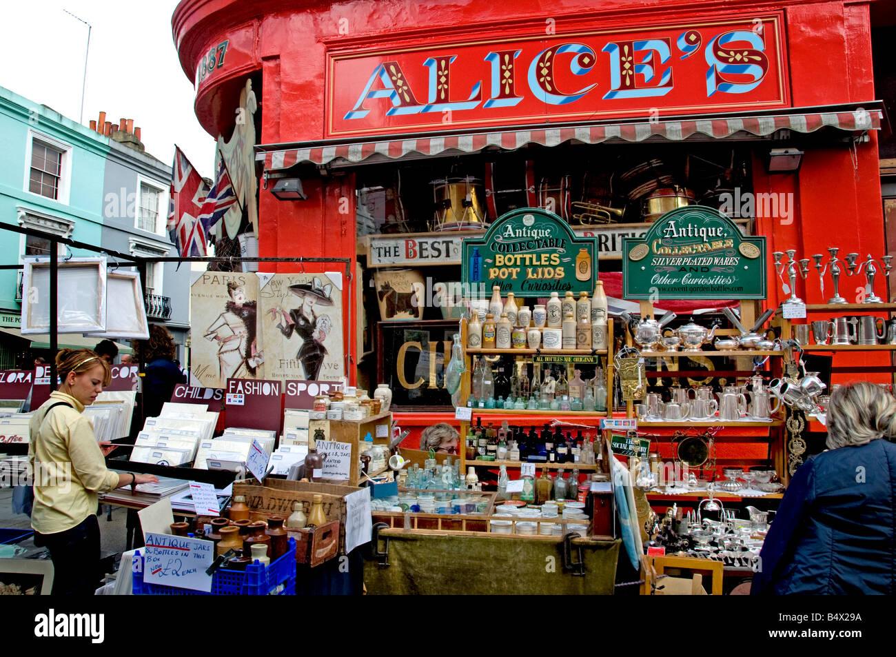 Portobello Road Market Notting Hill London - Stock Image