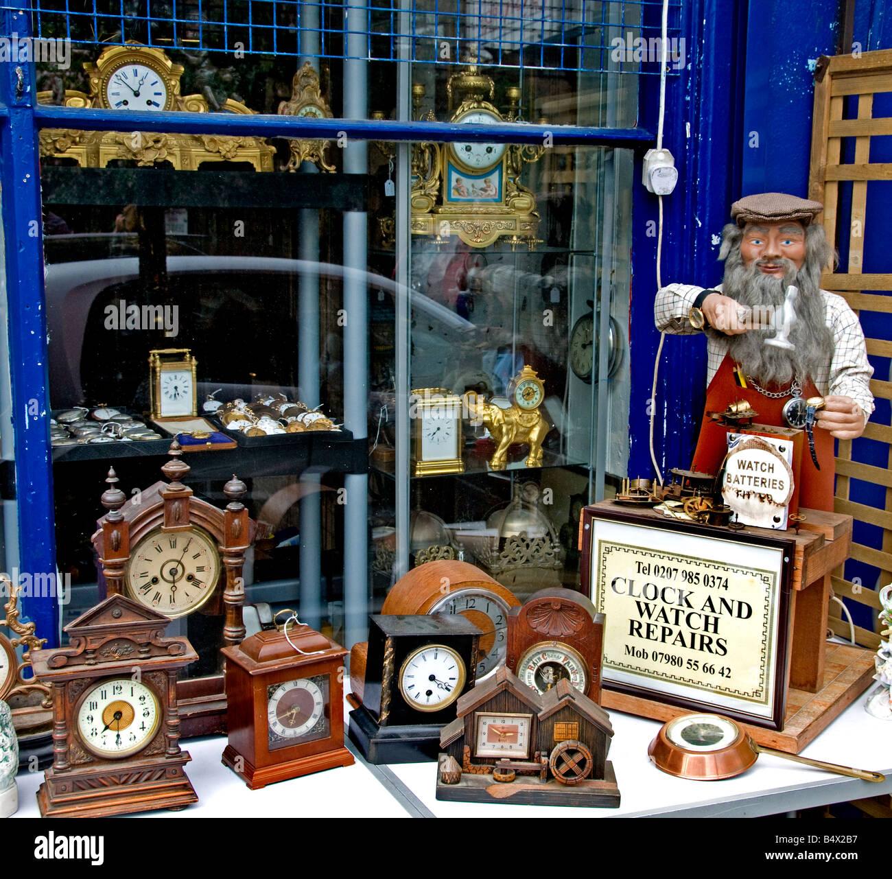 Portobello Road Market Notting Hill London clock - Stock Image