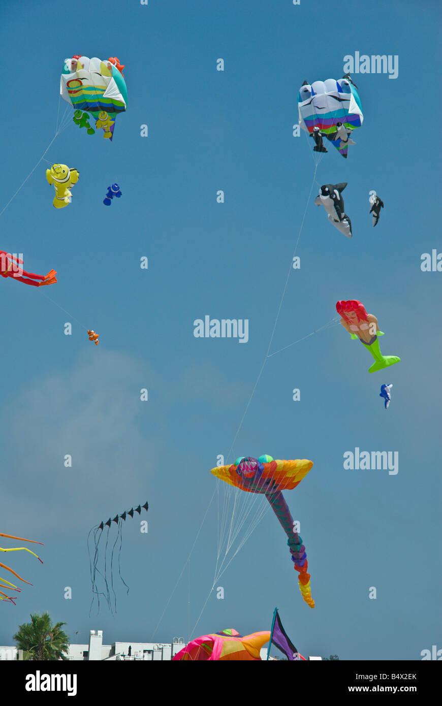 Santa Monica  Ca, north, America, United, States, flying kites Spiderman, fish, travel, tourism, tourists, - Stock Image