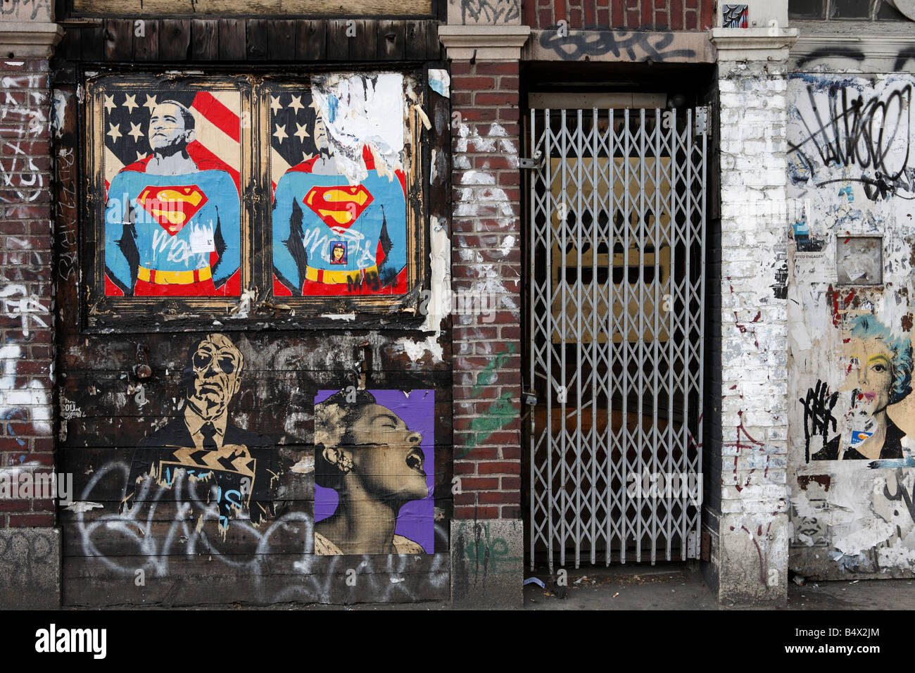 graffiti painted on building in New York - Stock Image