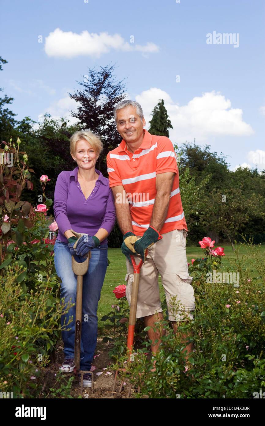 Portrait of couple  gardeners - Stock Image