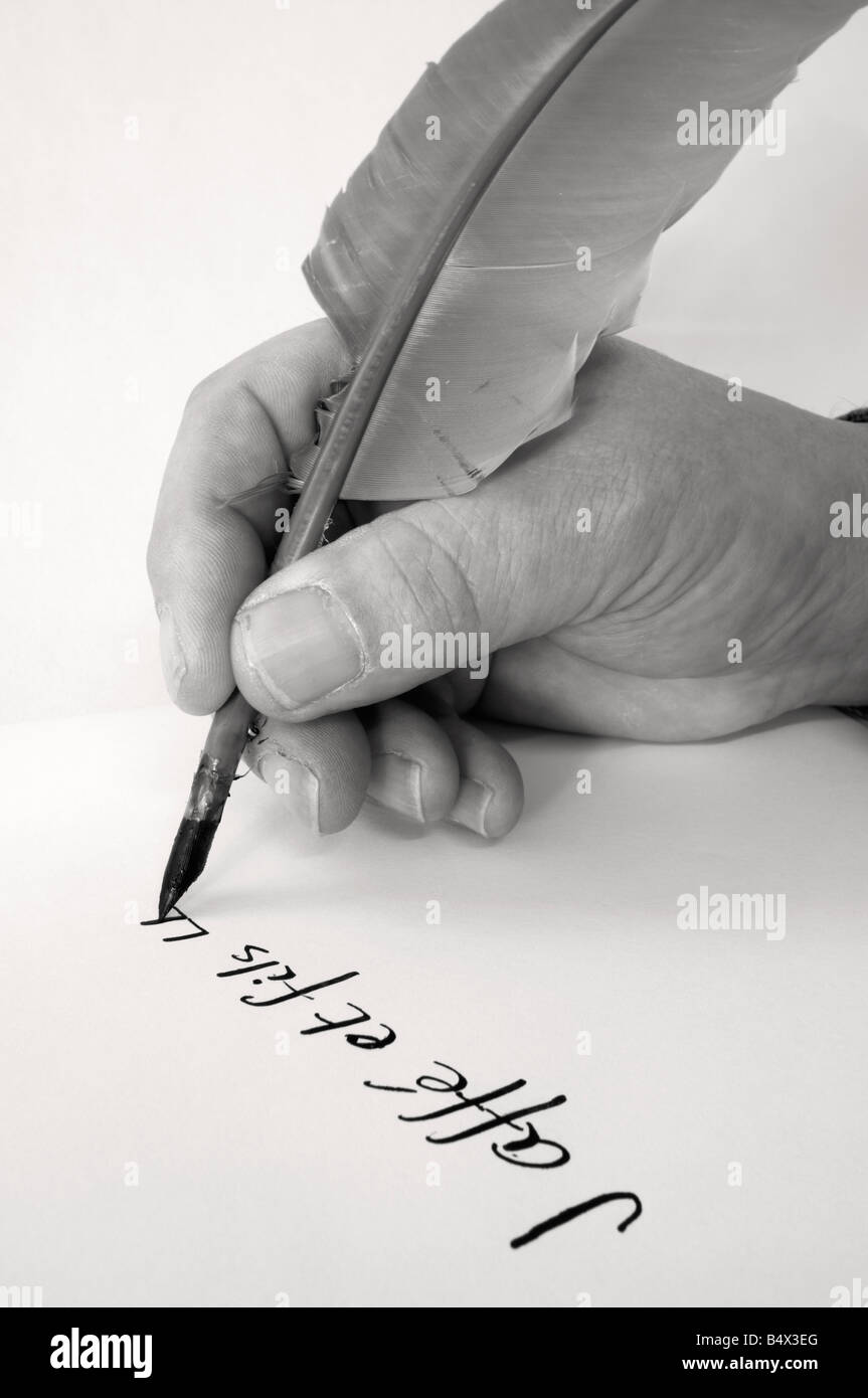 Natural Quill Pen - Stock Image