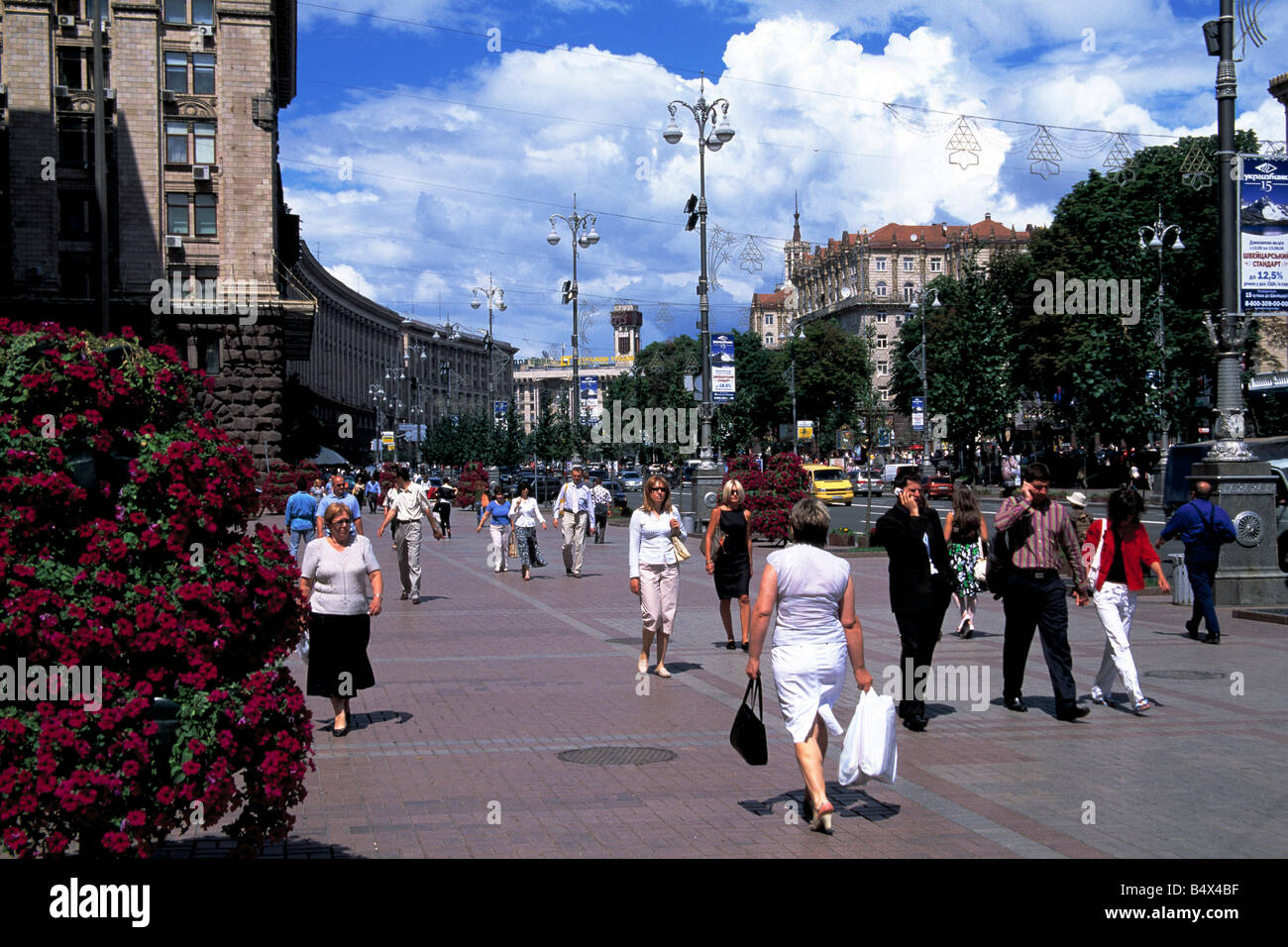 People walking in Khreschatyk Street in central Kiev, Ukraine - Stock Image