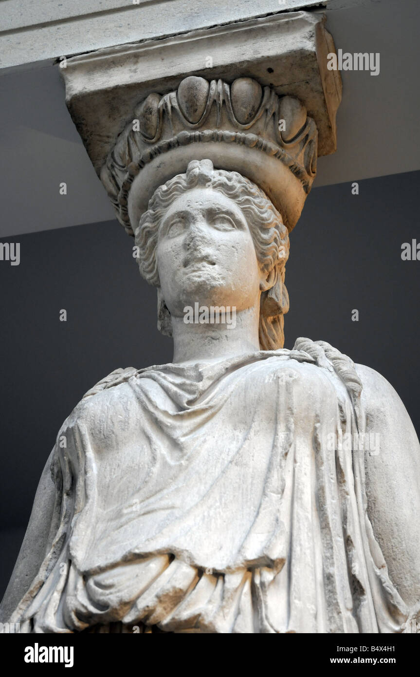 Caryatid from the Erechtheum. About 415BC. Greek statue- British Museum - Stock Image