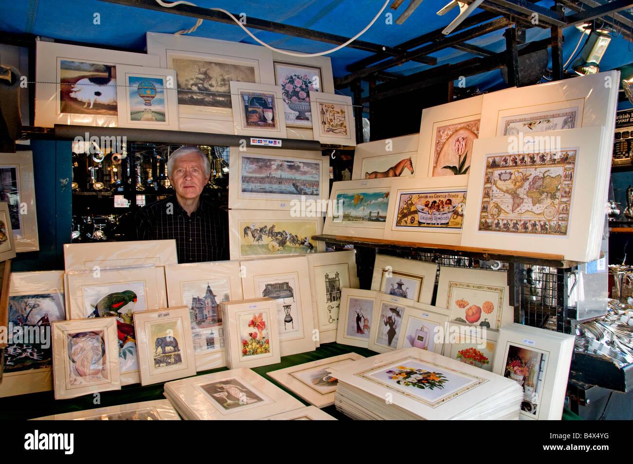 Portobello Road Market Notting Hill London  print engraving picture - Stock Image