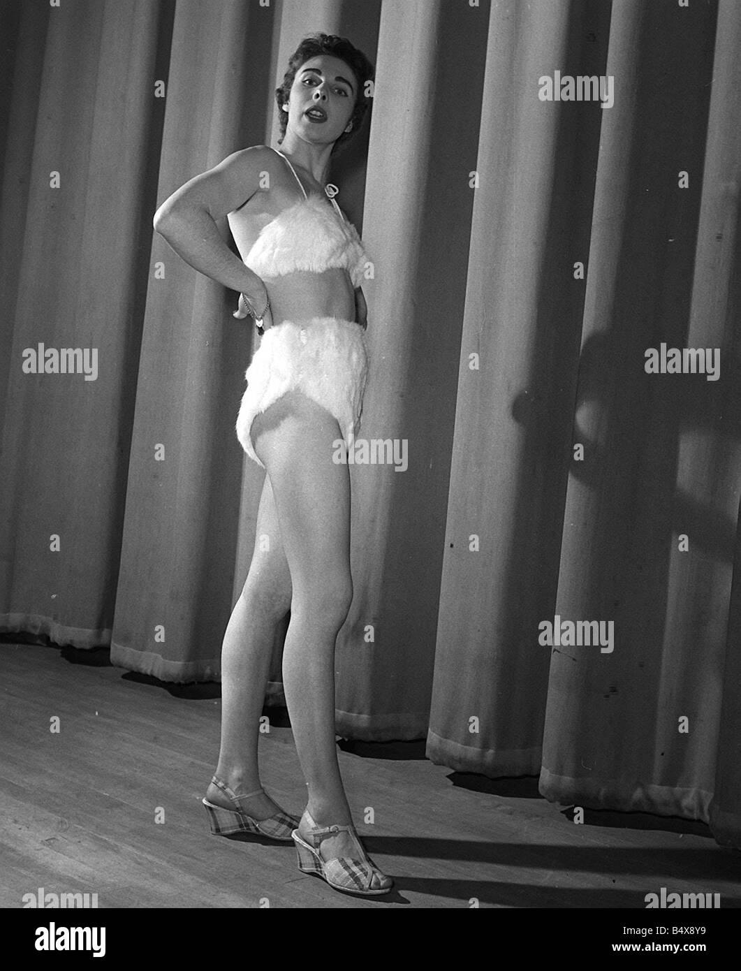 Mink fur bikini 1954 worn by Jackie Lee at fashion show Stoke Newington town hall The mink fur bikini the height - Stock Image