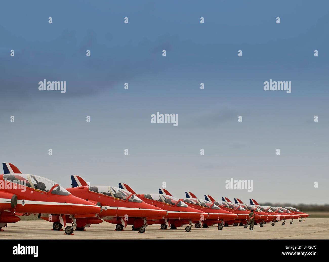 RAF Red Arrows Aerobatic Team Harriers on display - Stock Image
