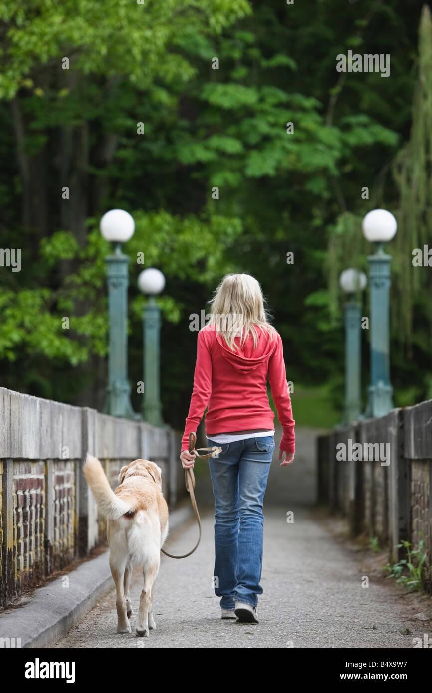 Girl walking dog across bridge - Stock Image