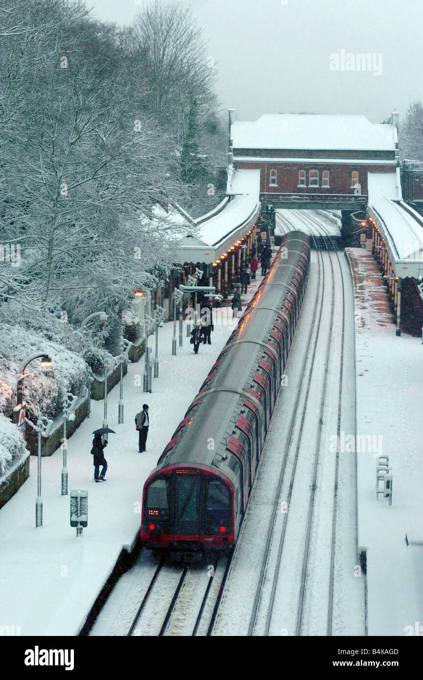 Chigwell train station in Essex is suprisingly empty during the rush hour after snow affected the sout east. February - Stock Image