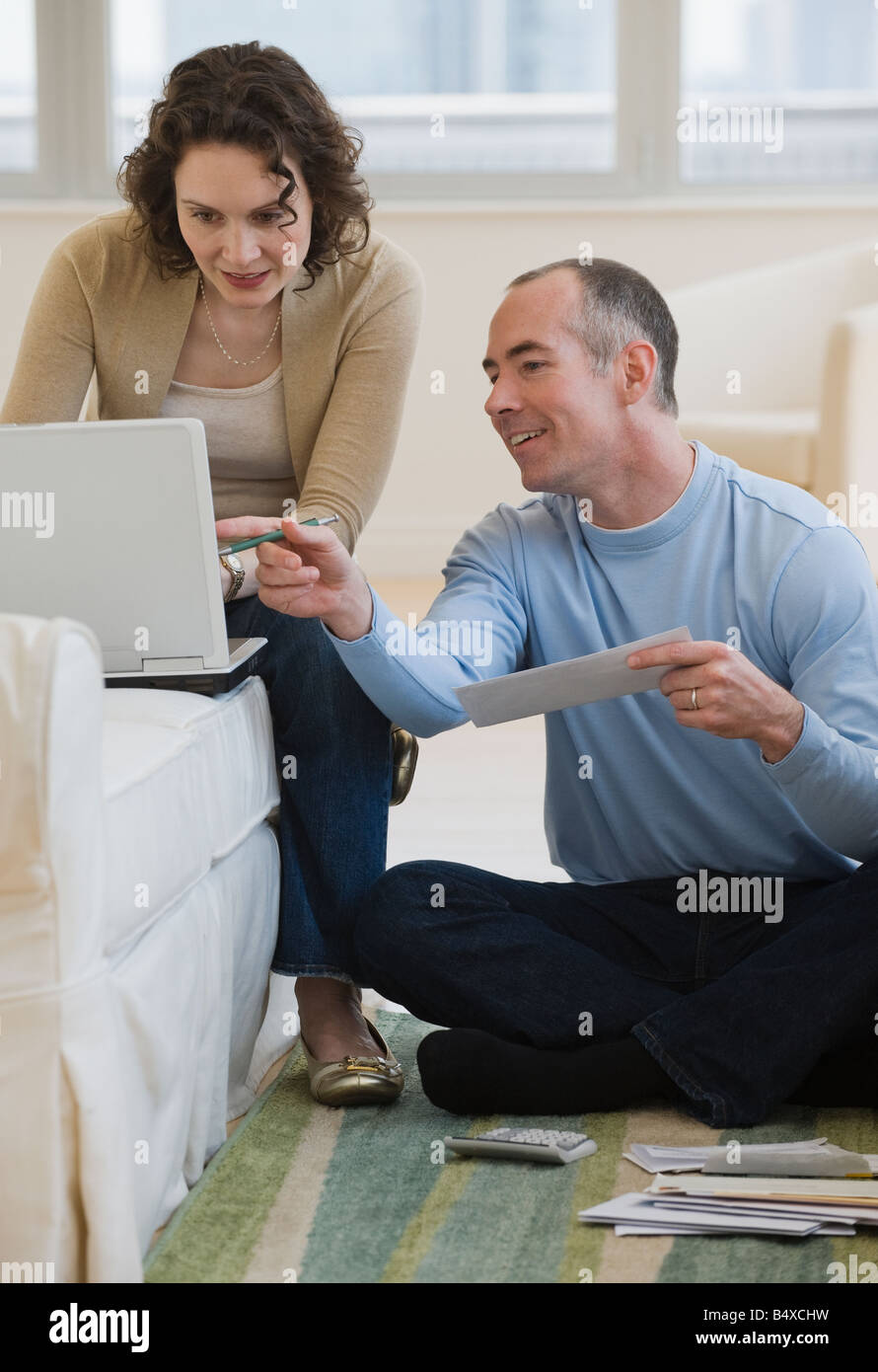 couple paying bills online at home stock photo 20249653 alamy rh alamy com online at home gigs online at home jobs data entry