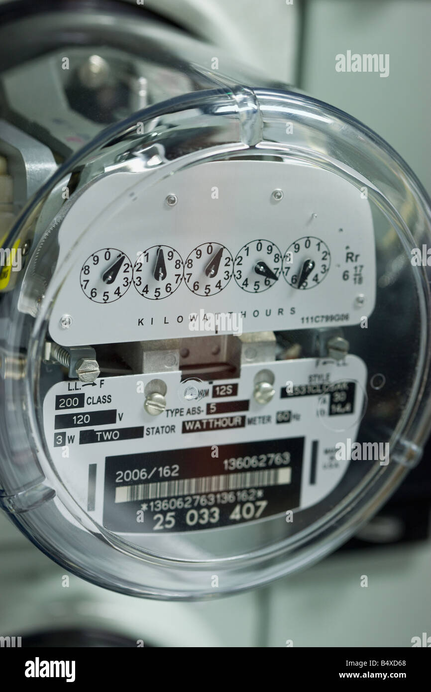 Close up of electrical meter - Stock Image
