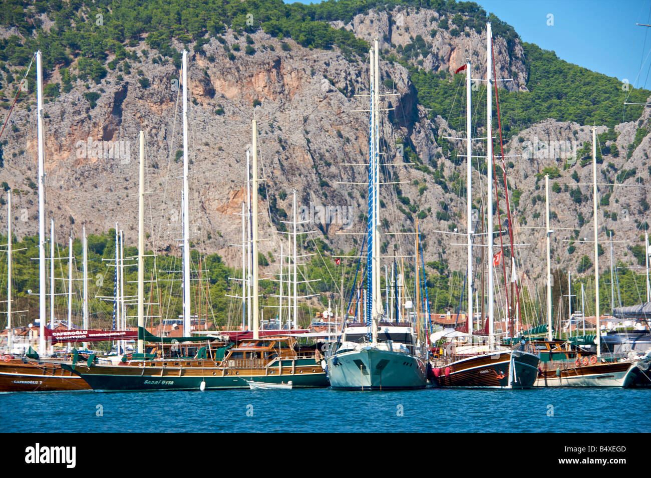 Assorted boats and yachts anchored in Goçek Bay Turkey - Stock Image