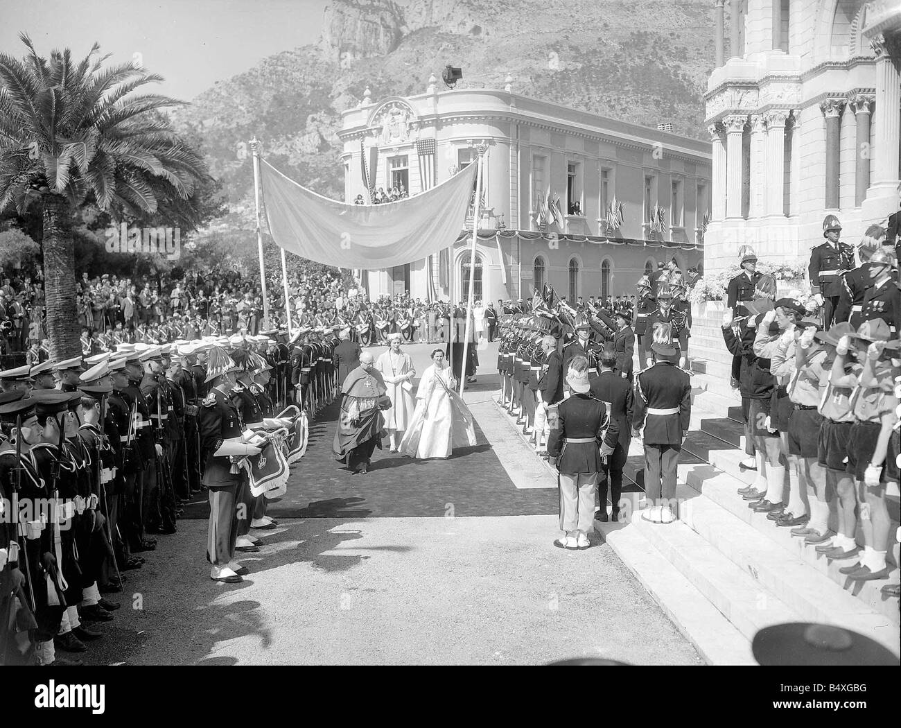 Monaco Prince Rainer April 1956 The wedding of Prince Rainer and Princess Grace Kelly Boy scout - Stock Image