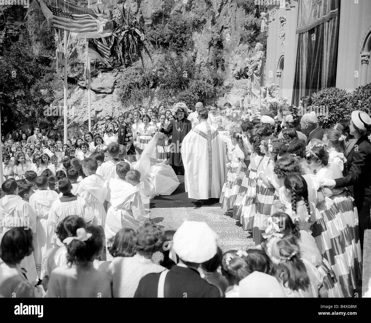 Monaco Prince Rainer April 1956 The wedding of Prince Rainer and Princess Grace Kelly - Stock Image