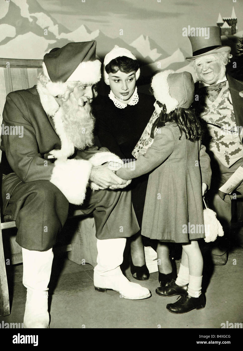 Audrey Hepburn November 1950 Father Christmas and Uncle Holly have a ...