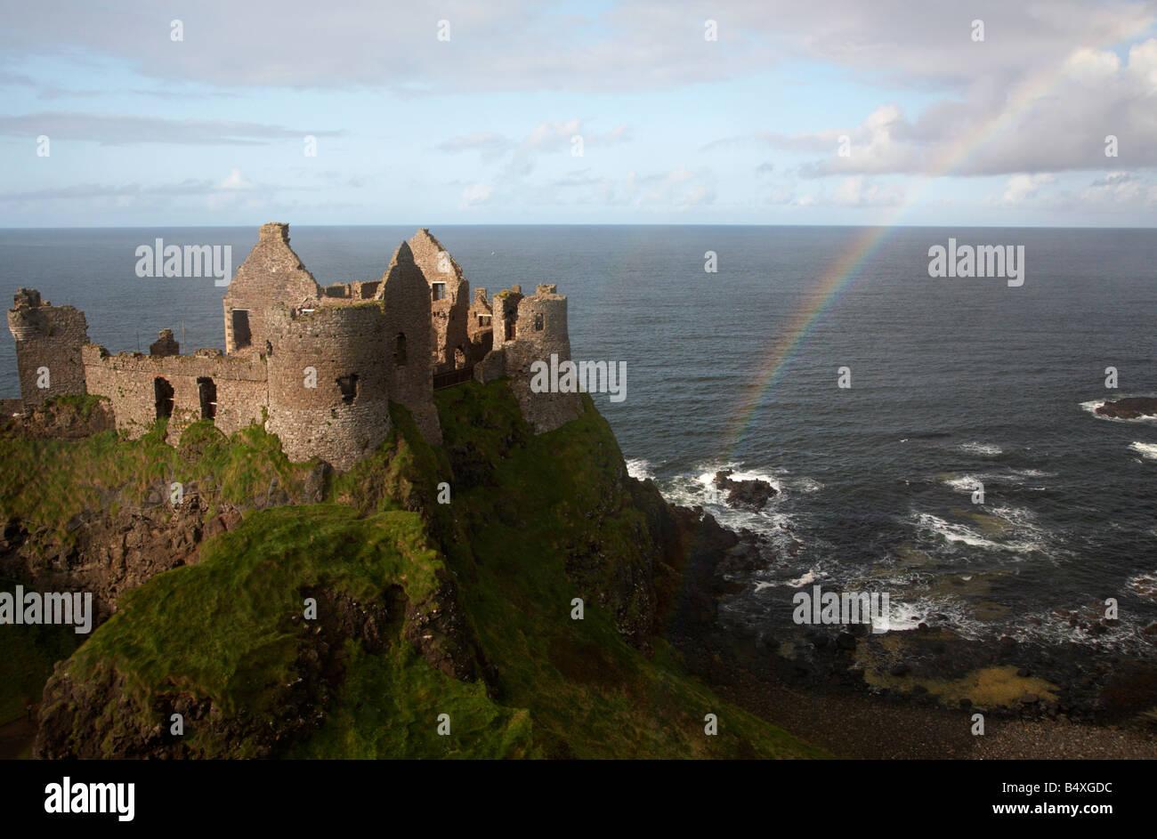 dunluce castle with rainbow and the north antrim coastline county antrim northern ireland uk Stock Photo